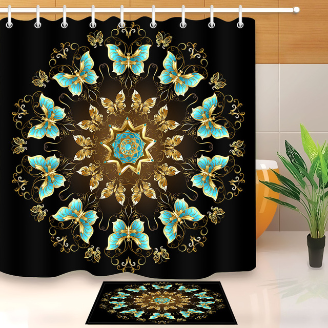 LB 72 Gold Mandala Turquoise Butterfly Black Shower Curtains Bathroom Curtain Fabric Polyester With