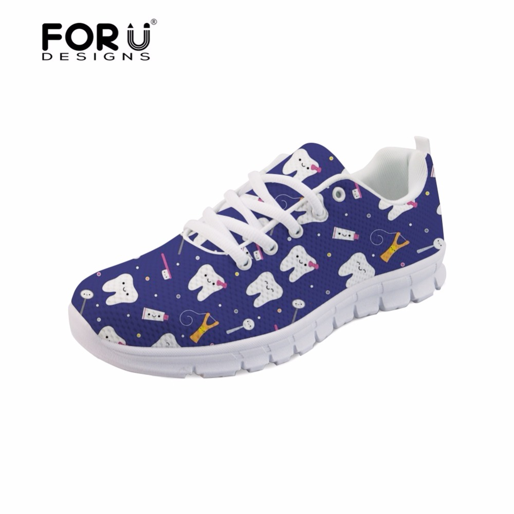FORUDESIGNS Cute Cartoon Dentist Pattern Women Lace-up Flats Shoes Dentista Zapatos Mujer Casual Women's Sneakers Light Shoes instantarts women flats emoji face smile pattern summer air mesh beach flat shoes for youth girls mujer casual light sneakers