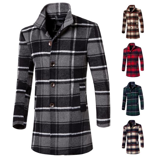 2016 inverno mens trench coat xadrez boa qualidade marca longo trench coats para homens único breasted casaco de lã tamanho 3xl