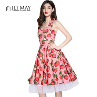 J L I 2016 New Arrive Party Vintage Audrey Hepburn 50s Rockabilly Pink Strawberry Sleeveless Plus
