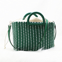 2019 Hand woven straw green color beach bags rattan Shoulder bag Women Crossbody Travel Bags Hand Basket shopping bag
