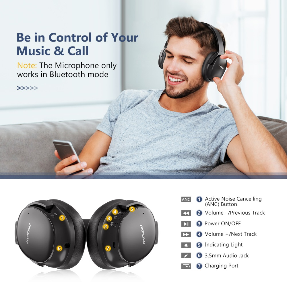 Mpow H10 Active Noise Cancelling écouteurs sans fil bluetooth 18-25 H Temps de Jeu ANC casque avec micro Pour iPhone Huawei Xiaomi - 4
