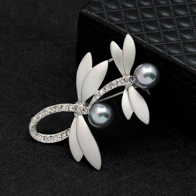 Libélula perla simulada rhinestone boda broche solapa vestido Plata ...