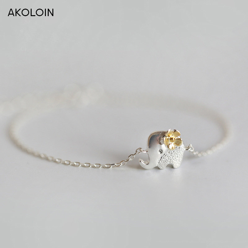 AKOLION Silver Elephant  Bracelets Hand Chain for Women Shool Girl Kids 925 Sterling Jewelry Christmas Gifts wholesale