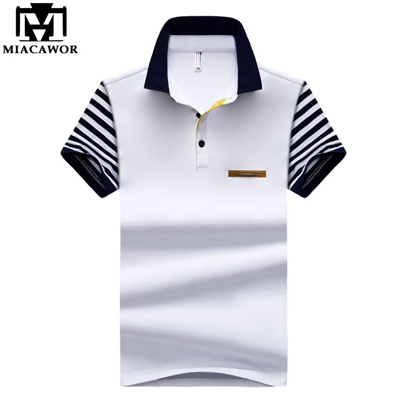 MIACAWOR New Men   Polo   shirts Cotton Summer Short-sleeve Homme Patchwork Sleeves Business White Camisas MT660