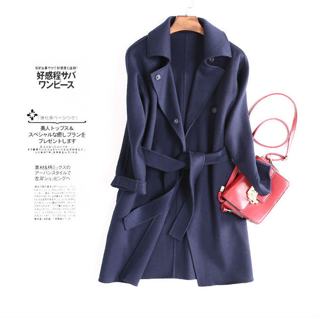 Women Wool Coat Long sleeved Solid heavy winter coats 90%Wool 10 ...