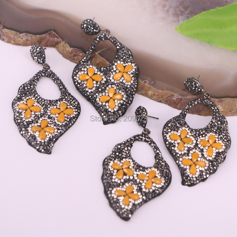 4Pairs pave rhinestone orange color stone leaf earring, gems jewelry leather dangle earrings