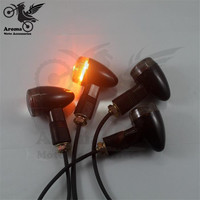 4 PCS Motorcycle Turn Signal Light Black Lends LED Motorbike Indicator Harley Moto Flashers Blinker Lamp