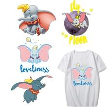 Iron on Cartoon Dumbo Patches for Kids Clothing DIY T-shirt Appliques Heat Transfer Vinyl Washable Stickers Stripes on Clothes кухонный смеситель omoikiri kado ma латунь гранит марципан 4994171