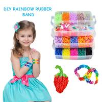 15000pc DIY Toy Rubber Loom Bands Set Kid DIY Bracelet Silicone Rubber Bands Elastic Rainbow Weave Loom Bands Toy Children Goods