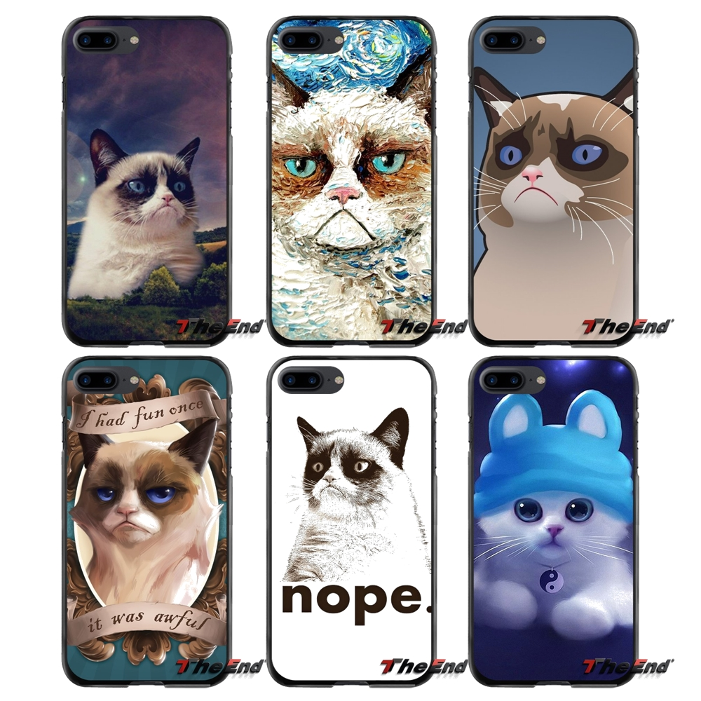 Grumpy Cat Animal Accessories Phone Cases Covers For Apple iPhone 4 4S 5 5S 5C SE 6 6S 7 8 Plus X iPod Touch 4 5 6