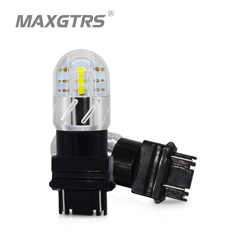 2x T25 3157 3030 6SMD 18W Auto DRL Car LED Turn Signals Light Bulbs Tail Lights Brake Light Rear Reverse Lights White/Red/Amber image