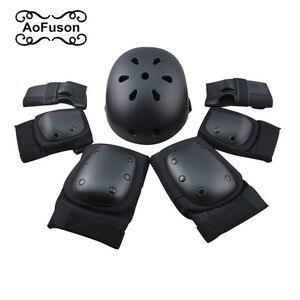 7 шт./компл. Защитное снаряжение для катания на коньках налокотники наколенники шлем велосипедный скейтборд Катание на коньках роликовые ез...