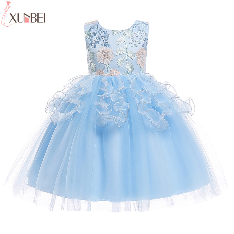 Lovely Appliqued Ball Gown   Flower     Girl     Dresses   Tulle 2018 Pageant   Dresses   For   Girls   Kids Prom   Dresses   vestidos infantil de festa