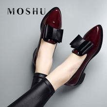 Women Loafers Platform Toe-Shoes Mocasines Pointed Leather Flat Casual Ladies Feminino