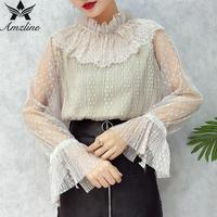 Amzline 2017 Autumn Black Wave Point Women Tops Casual Pleated Pullover Bandage Bow Tie Lace Chiffon