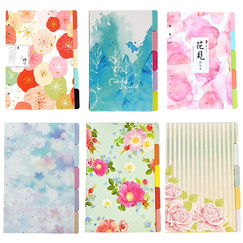 A5 A6 Planner Dividers, Filofax Dashboard Seperator Paper. Flowers Planner Binder Index Dividers