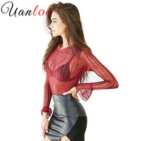 UANLOE 2017 New Arrived Sexy Lace Shirt Women Tops See Through Mesh Autumn High Neck Long