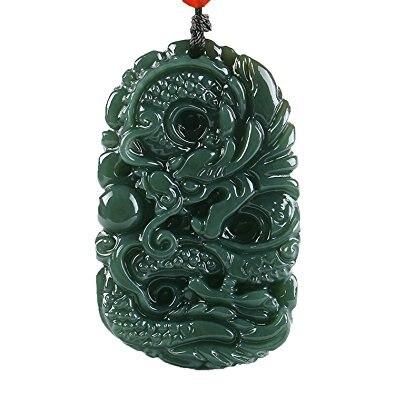 Pur naturel sculpté à la main qing jade dragon collier pendentif Taille: 50 MM * 31 MM
