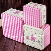 3pcs Set Square Shape Metal Case Tea Set Printing Tin Storage Box Sundries Container Iron Container