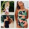 Sexy One Piece Swimsuit Women 2017 Summer Beachwear Green Leaves One Shoulder Swimwear Bathing Suits Bodysuit