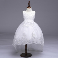 Retail Elegant Lace Beading Girls Long Trailing Dress Embroidery Tiered Girls Summer Evening Party Dress With
