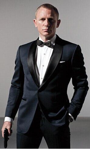 Men's Dark Blue Business Suits Formal Suits For Men One Set James Bond Men Wedding Suits Groom Tuxedos (Coats+Pants +tie)