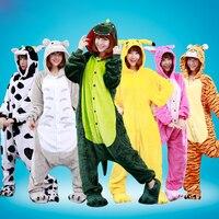 Unisex Adult Flannel Pajamas Cosplay Cartoon Halloween Christmas Costume Animal Onesies Sleepwear Panda Tenma Stitch Dinosaur