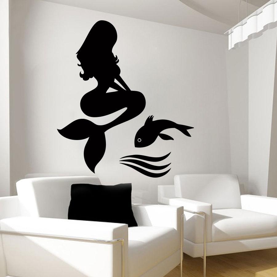 ᐅSirena pared peces vinilo Decoración para el hogar Nursery ...