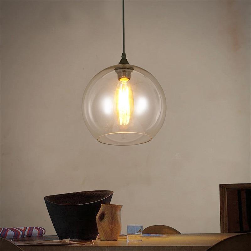 buy antique industrial pendant light clear glass ball globe pendant lamp modern vintage hanging pendant ceiling fixture lighting from - Globe Pendant Light