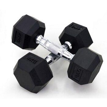 12 5kg 2pcs Six Corner Fixed Dumbbells men with rubber cover dumbbells for fitness bodybuilding dumbbells