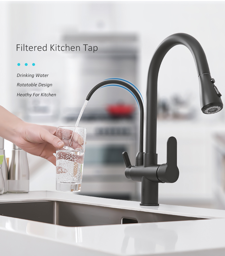 HTB1LpArdlKw3KVjSZTEq6AuRpXaM Quyanre Matte Black Filtered Crane For Kitchen Pull Out Spray 360 Rotation Water Filter Tap Three Ways Sink Mixer Kitchen Faucet