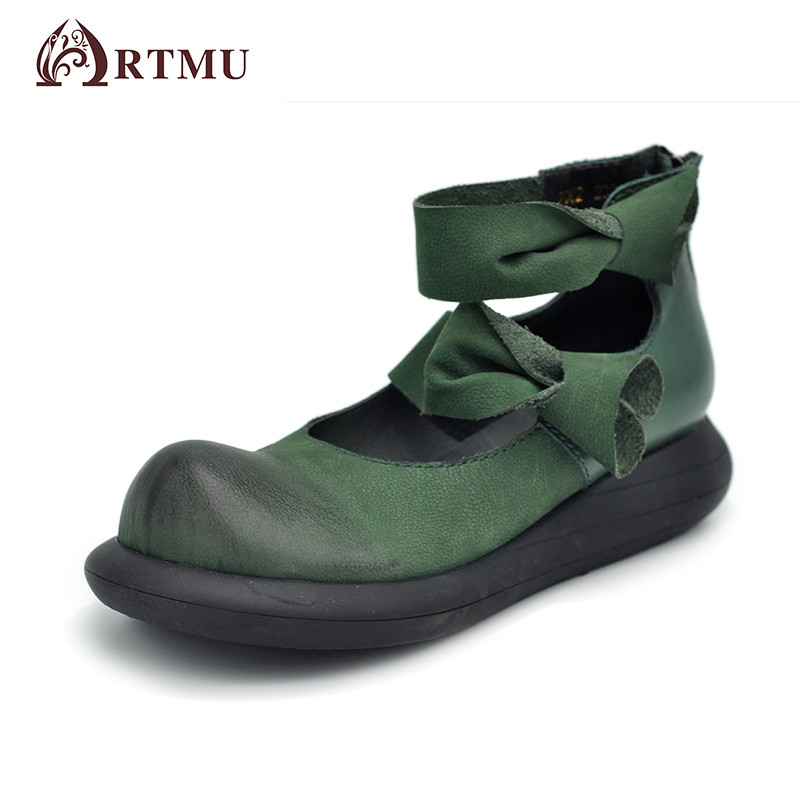 Artmu 2017 Fashion Green Women Shoes Handmade Leather Shoes Woman Mary Jane Shoes zapatos mujer