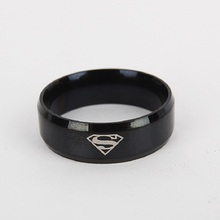 2017 New Fashion Superman Ring Stainless Steel Wedding Rings Jewelry for Women and Men(China)
