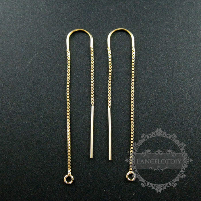 47x8mm Gold Filled High Quality Color Not Tarnished U Threader Box Chain Drop With Open Ring DIY Earrings Supplies 1705047