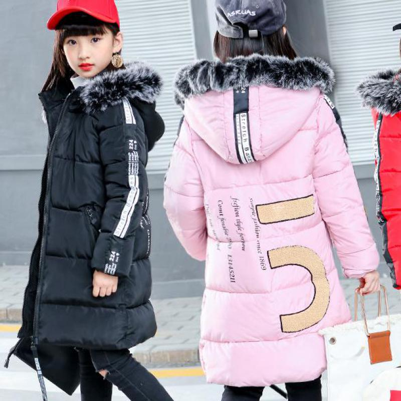 Winter Children's Jacket For Girl Thick Long Warm Coat Kid Fashion Girl Fur Collar Outerwear Clothes Kids Winter Parkas Snowsuit fashion children winter coat long down jacket for girl long parkas kids hooded color raccoon fur collar coat zipper outerwear