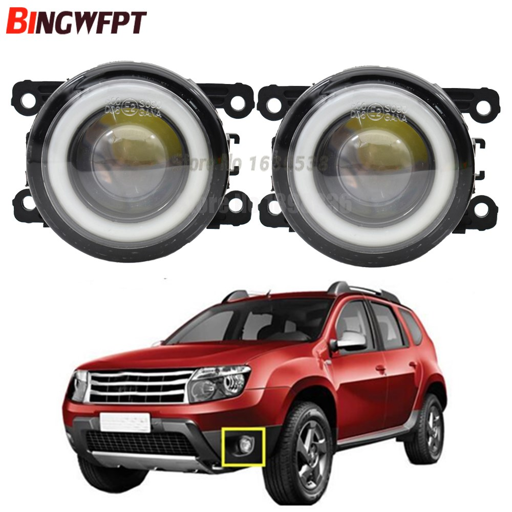 2pcs (Left+Right) Angel Eye car-styling Fog <font><b>Lamps</b></font> <font><b>LED</b></font> Lights For <font><b>Renault</b></font> Duster <font><b>MEGANE</b></font> <font><b>2</b></font>/3/CC Fluence Koleos SANDERO STEPWAY image
