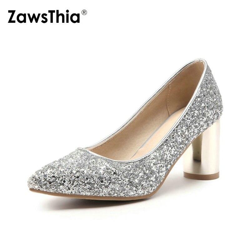 ZawsThia 2019 spring autumn round high heels silver gold glitter bling  sequin woman pumps wedding bride 7fcf2848ba79