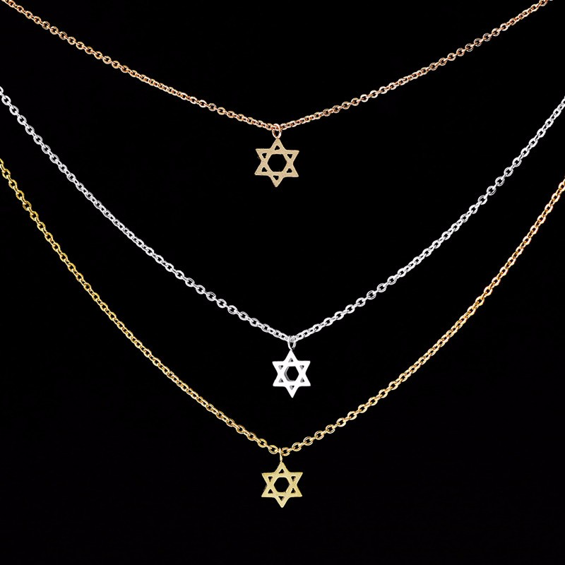 Fashion pretty Star Of David Pendant Choker Necklace for women Trendy best christmas gift for friend gold/silver plated