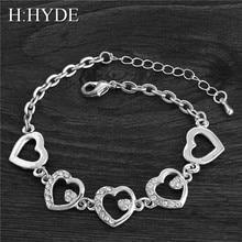 H: HYDE, новые женские браслеты, браслеты, модные Коннекторы в форме сердца, горный хрусталь, кристалл, свадебный браслет для женщин/девушек, роскошное качество