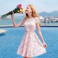 Hollow lace dress party dress sash o neck short sleeves summer women elegant dress chic lady slim sundress pink