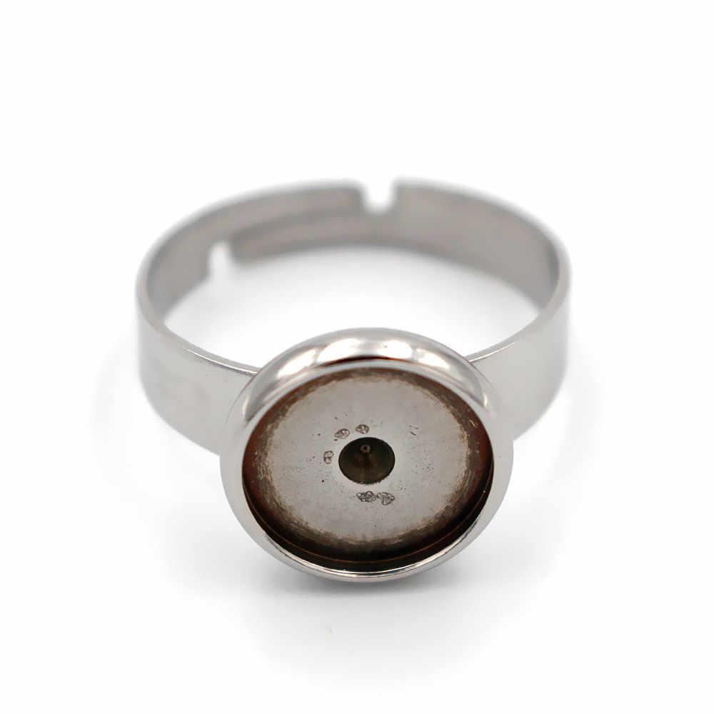 Ajuste de anillo de acero inoxidable 6mm 8mm 10mm 12mm bandeja de bisel redonda piedra camafeo cabujones Base en blanco accesorios para anillo DIY
