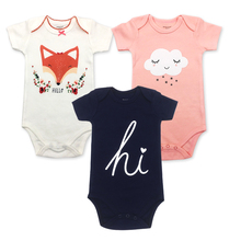 2019 new 3PCS 100% cotton baby body short-sleeved clothing similar jumpsuit printing baby boy girl tights Baby bodysuit 2018 real 100% cotton baby clothing three piece normal boy girl clothessize bodysuit