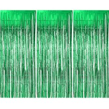 METABLE 3 Pack Metallic Tinsel Curtains, Foil Fringe Shimmer Curtain Door Window Decoration for Birthday Wedding Party (Green)