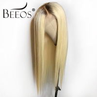 Beeos #4 Т #613 бесклеевого парики человеческих волос с волосы младенца Ombre блондинка предварительно сорвал Волосы remy перуанские парики для Для ж