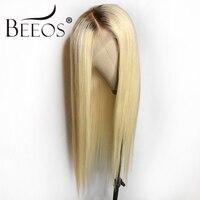 Beeos #4 T #613 бесклеевого парики человеческих волос с волосы младенца Ombre блондинка предварительно сорвал Волосы remy перуанские парики для Для ж