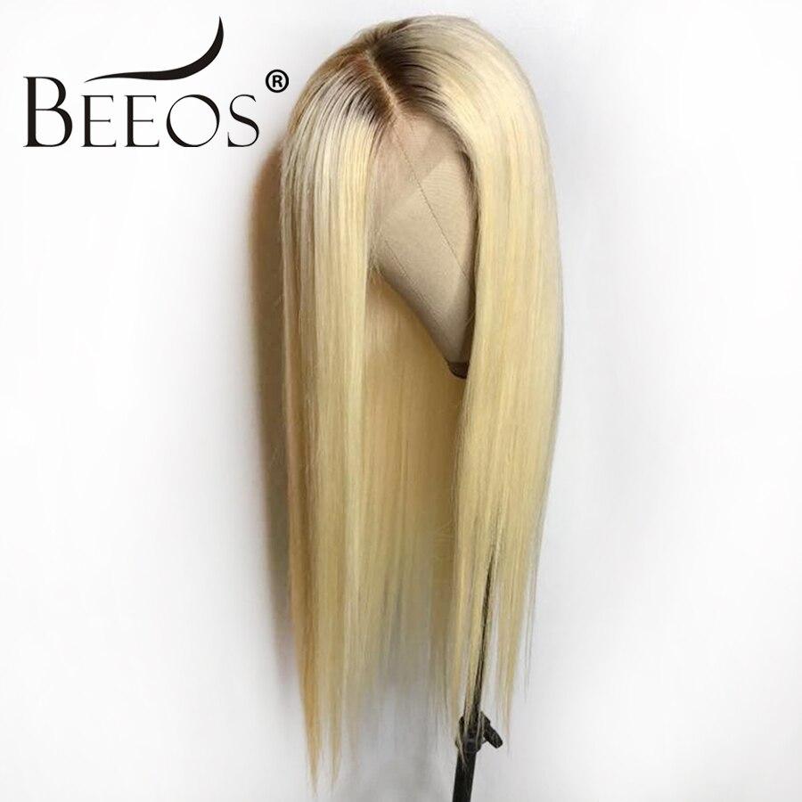 Beeos #4 t #613 Glueless Piena Del Merletto Parrucche Dei Capelli Umani Con I Capelli Del Bambino Ombre Blonde Pre Colto Remy peruviana dei capelli Parrucche Per Le Donne 130%