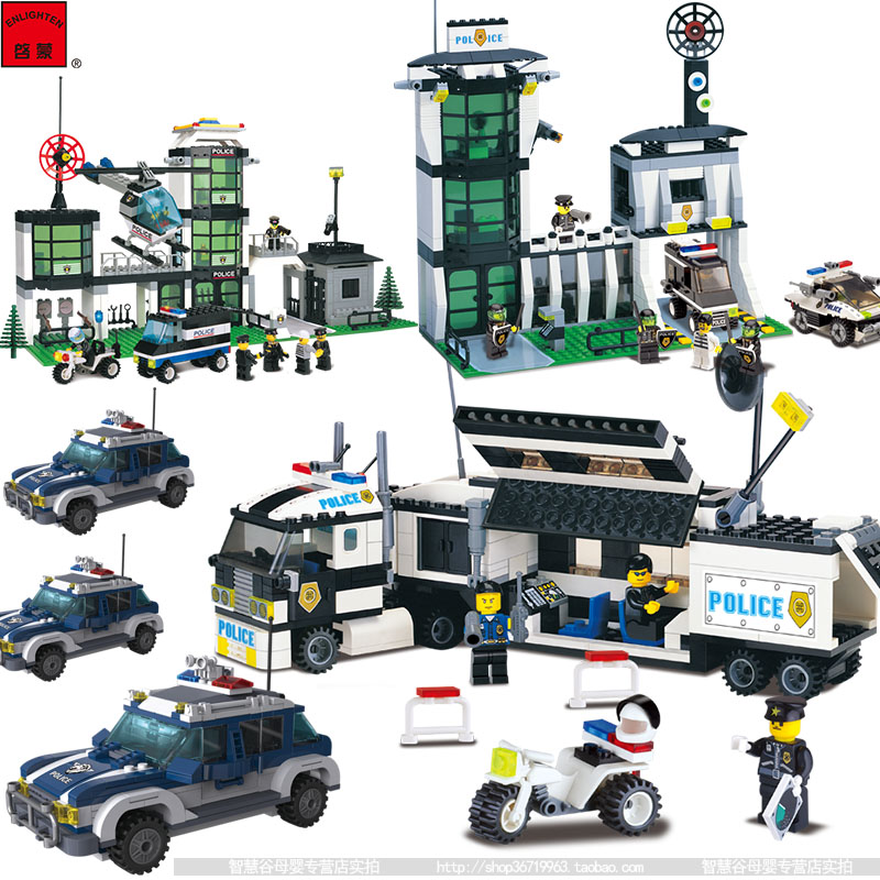 Building blocks   assemble toys   police station building  model the counterterrorism riot toys