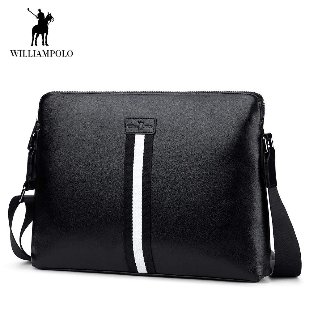 цены WilliamPOLO Men Bags Crossbody Shoulder Bag Genuine Leather Business Messenger Work Travel Office Sling with Adjustable Strap 42
