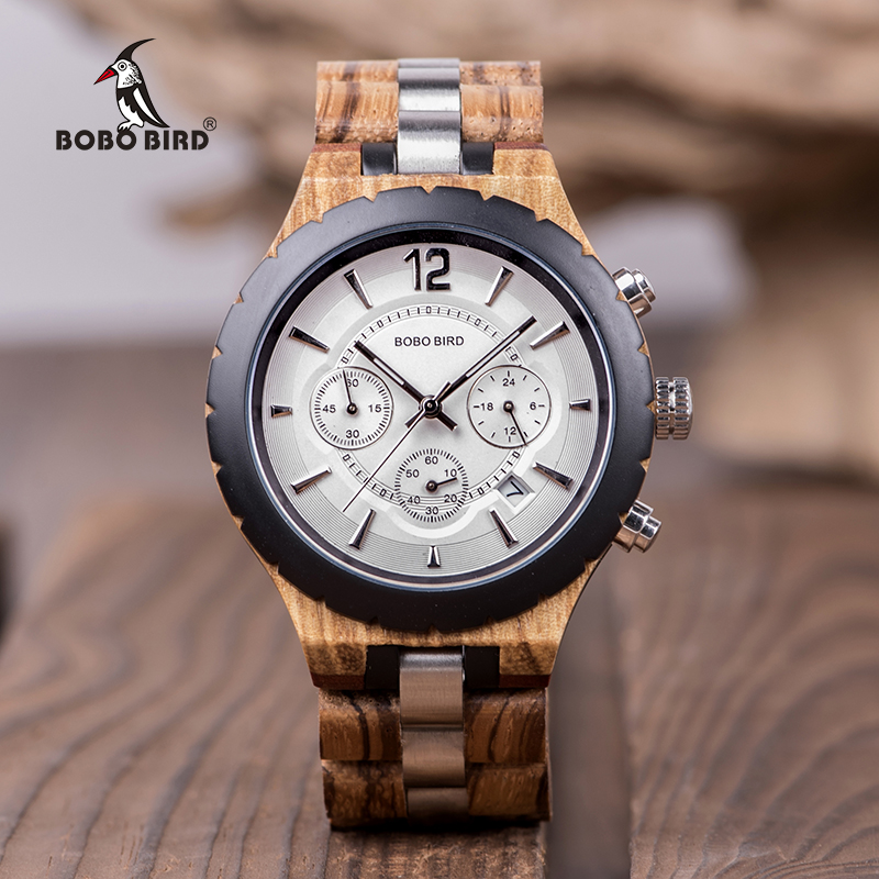 BOBO BIRD Wood Watch Men Business Watches Stop Watch Chronograph With Wood Stainless Steel Strap relogio